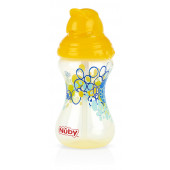 Nuby No-Spill Clik-It Flip-It Designer Series Straw Cup - Yellow- 300ml