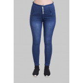 Veravibe High Waist Five Button Curvy Fit Denim Jeans - Bata Blue