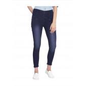 Veravibe High Waist Five Button Curvy Fit Denim Jeans - Dark Blue