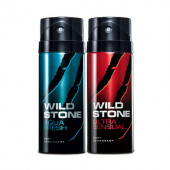 Wild Stone Aqua Fresh, Ultra Sensual (Pack of 2) Deodorants